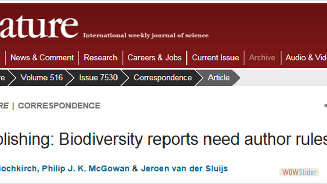 Publishing: Biodiversity reports need author rules